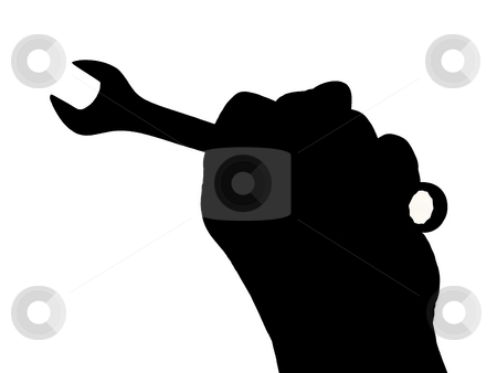 Mechanic stock photo, Silhouette of mechanic's hand with wrench on white. by Todd Dixon
