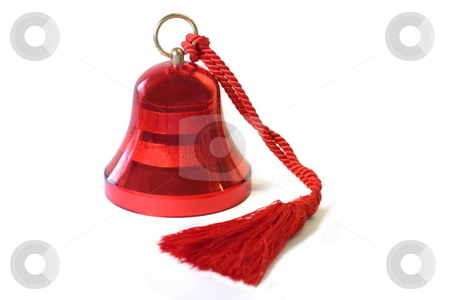 Christmas Bell stock photo, A red Christmas bell isolated on white. by Great Divide Photography