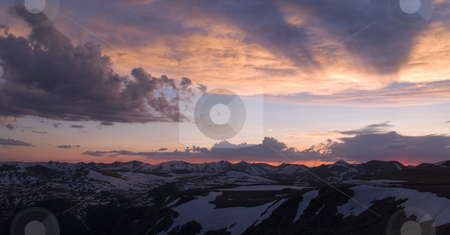 Never Summer Sunset stock photo, Sunset over the Never Summer Mountains from Trail Ridge - Rocky Mountain National Park by John McLaird