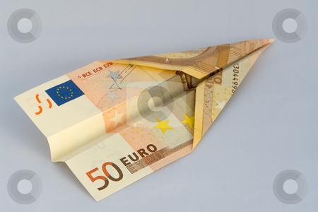 50 Euro Geldschein als Flugzeug stock photo, 50 Euro Geldschein als Flugzeug by Wolfgang Heidasch