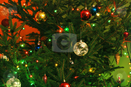 New-Year tree decorations stock photo, New year tree background with balls and lamps by Julija Sapic