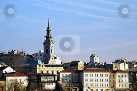 Belgrade urban view stock photo, Buildings and church in center of Belgrade, Serbia by Julija Sapic