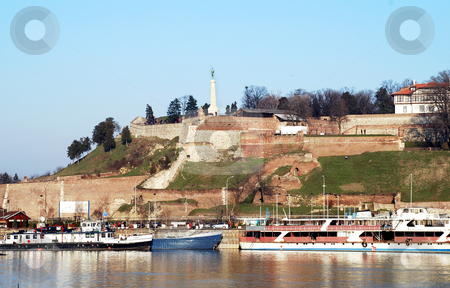 Belgrade urban view stock photo, Fortress over danube river in center of Belgrade Serbia by Julija Sapic
