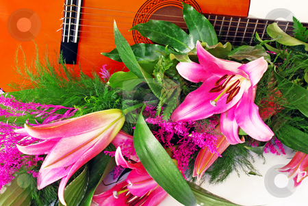Pink lily guitar composition stock photo, Pink lily and guitar composition over white by Julija Sapic