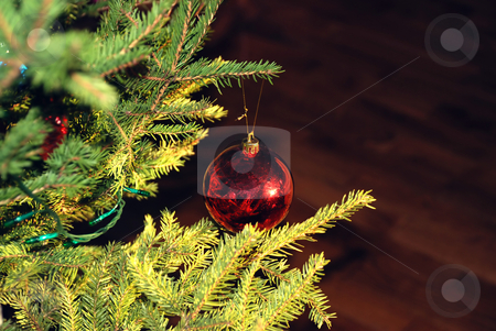 New-Year tree decorations stock photo, New year tree background with red ball by Julija Sapic