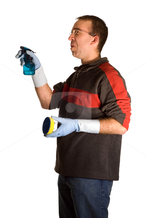 Male Cleaner stock photo, A young male wearing rubber gloves, doing some cleaning, isolated against a white background by Richard Nelson