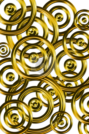 Golden rings stock photo, Pattern of rings like clockwork by Wino Evertz