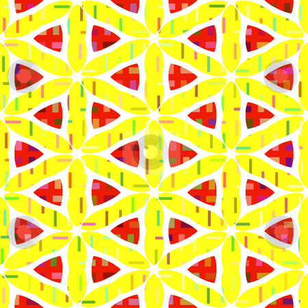 Abstract pattern stock photo, Texture of red triangles and shapes on yellow background by Wino Evertz