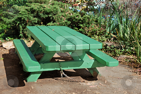 Picnic Table stock photo, Green picnic table on a sunny day by Denis Radovanovic