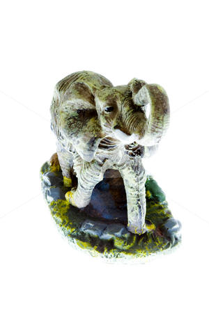 Toy Elephant stock photo, A small plastic toy elephant isolated on the white background by Petr Koudelka