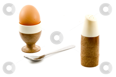 Soft Boiled Egg stock photo, A soft boiled egg, a spoon and a saltpot by Petr Koudelka