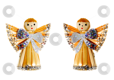 Straw Christmas Angels stock photo, A couple of straw christmas angels - seasonal decoration by Petr Koudelka
