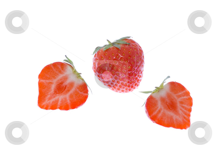 Strawberries stock photo, Three strawberries (two cut) on the white background by Petr Koudelka