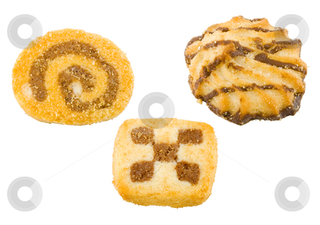 Teacakes stock photo, A group of different sweet teacakes on the white background by Petr Koudelka