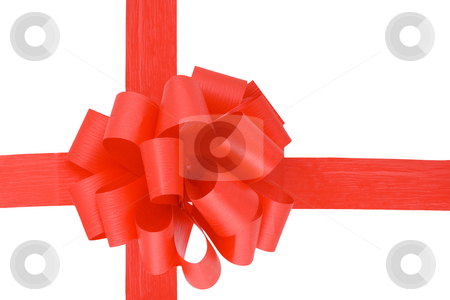 Red Ribbon stock photo, A red ribbon  isolated on the white background by Petr Koudelka