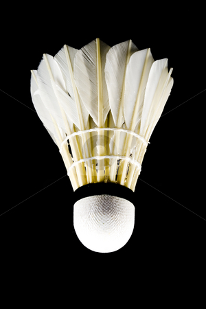 Shuttlecock stock photo, A white shuttlecock with feathers on the black background by Petr Koudelka