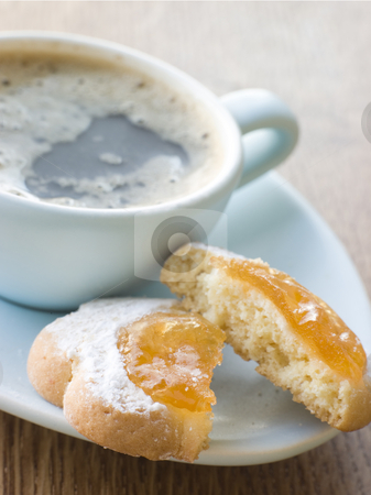 Margherite Biscuit with Espresso stock photo, Plate of Margherite Biscuit with Espresso by Monkey Business Images