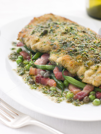 Cotoletta of Veal with Green Beans Peas and Pancetta stock photo, Plate of Cotoletta of Veal with Green Beans Peas and Pancetta by Monkey Business Images