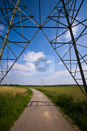 High voltage  stock photo, Electric power tower in a rural landscape by Karin Claus