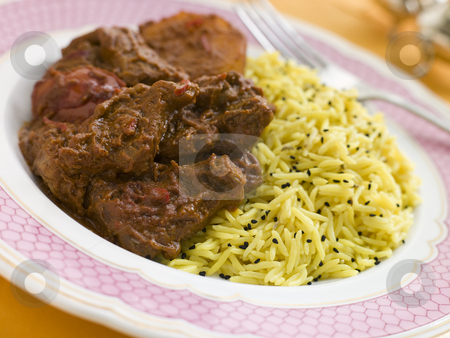 Meat Vindaloo with Pilau Rice stock photo,  by Monkey Business Images
