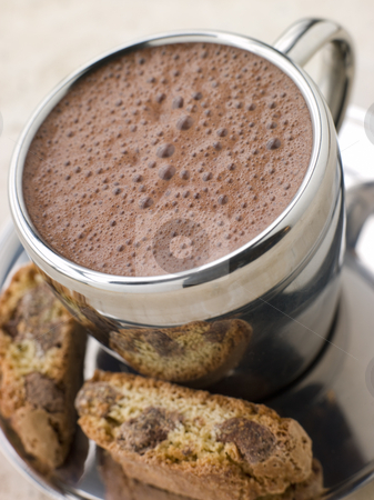 Hot Chocolate Florentine with Chocolate Cantuccini Biscotti stock photo,  by Monkey Business Images