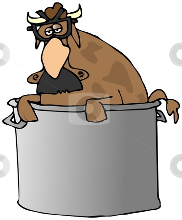 Comedian Cow In A Pot stock photo, This illustration depicts a cow in a pot wearing a Groucho mask. by Dennis Cox