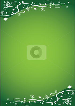 Decorative Christmas Illustration (Green) stock vector clipart, Decorative Christmas Illustration with snowflakes, stars and vines against a green background by Inge Schepers