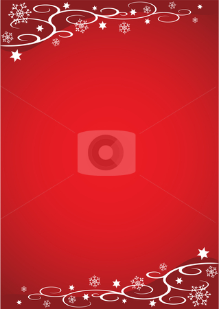 Decorative Christmas Illustration (Red) stock vector clipart, Decorative Christmas Illustration with snowflakes, stars and vines against a red background by Inge Schepers