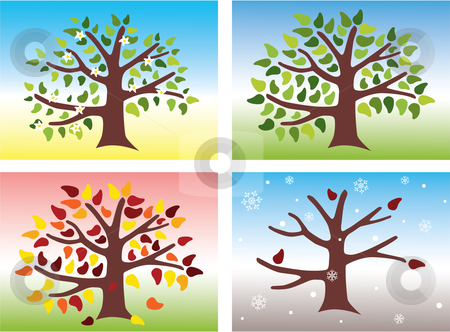 Four Seasons stock vector clipart, Vector illustration of a tree during the four different seasons of the year: Spring, Summer, Autumn and Winter by Inge Schepers