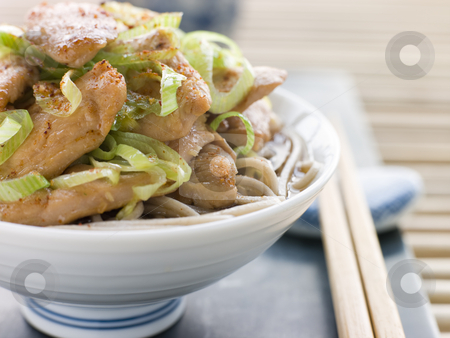 Bowl of Chicken and Leek Soba Noodles in Broth stock photo, China Bowl of Chicken and LeekSoba Noodles in Broth with chopsticks by Monkey Business Images