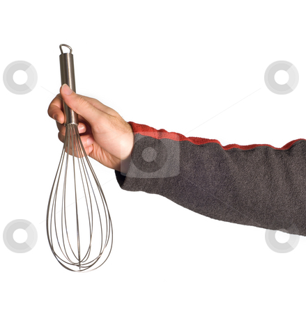 Whisk stock photo, A male arm holding a kitchen whisk by Richard Nelson