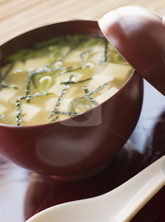Miso Soup Cup and Spoon stock photo, Close up of Miso Soup Cup and Spoon by Monkey Business Images