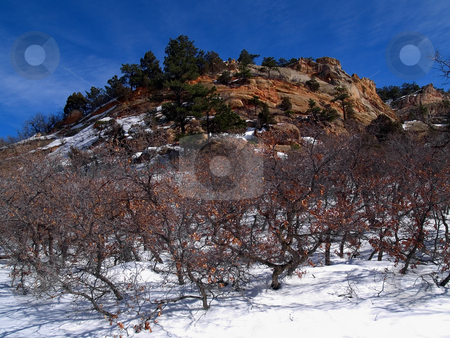 February Sky stock photo, February among the rock formations of Roxborough State Park, Colorado. by John McLaird