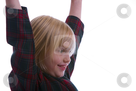 Child Victorious  stock photo, Child victorious and raising her arms by John McLaird