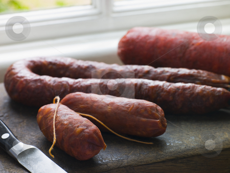 Selection of Spanish Sausages stock photo,  by Monkey Business Images