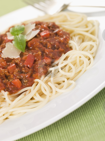 Spaghetti Bolognaise stock photo,  by Monkey Business Images