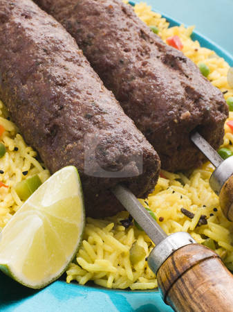 Lamb Mint and Garlic Sheesh Kebab with Pilau Rice stock photo,  by Monkey Business Images