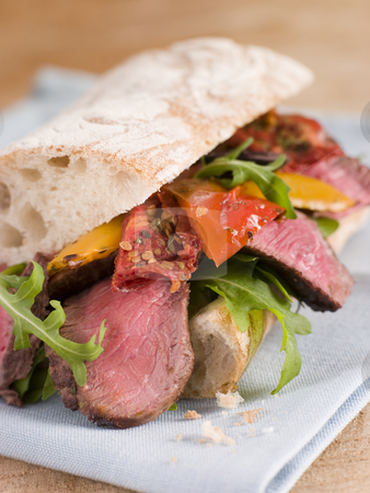 Sirloin Steak and Roasted Pepper Ciabatta Sandwich stock photo, Close up of Sirloin Steak and Roasted Pepper Ciabatta Sandwich by Monkey Business Images