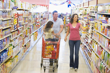 Family grocery shoppping stock photo, Family grocery shopping in supermarket by Monkey Business Images