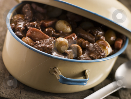 Casserole Dish With Beef Bourguignonne stock photo,  by Monkey Business Images
