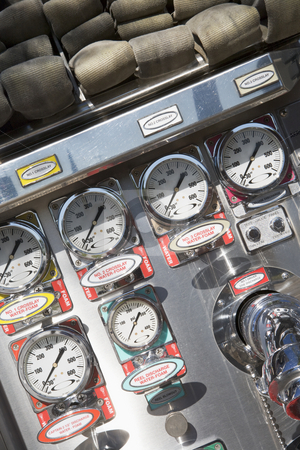 Gauges and dials on a fire engine stock photo,  by Monkey Business Images