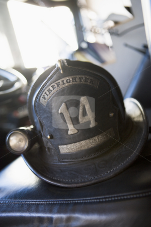 Vintage firefighter's helmet stock photo,  by Monkey Business Images