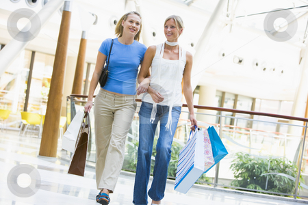 Friends shopping in mall stock photo, Friends shopping in mall carrying bags by Monkey Business Images