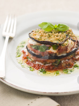 Aubergine Parmigiana Tower with Herb Oil stock photo, Plate of Aubergine Parmigiana Tower with Herb Oil by Monkey Business Images