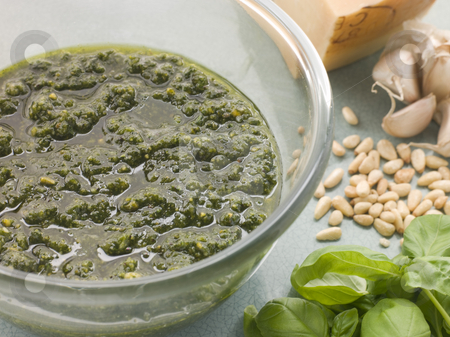 Bowl of Fresh Pesto with Ingredients stock photo, Close up of Bowl of Fresh Pesto with Ingredients by Monkey Business Images