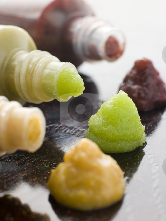 Three Japanese Sauces-Wasabi Mustard and Plum stock photo, Close up of Three Japanese Sauces-Wasabi Mustard and Plum by Monkey Business Images