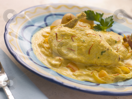 Chicken Breast with a Saffron and Almond Sauce stock photo,  by Monkey Business Images