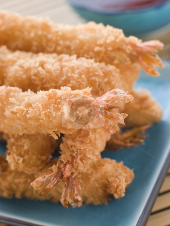 Deep Fried Breaded Japanese Tiger Prawns with Mirin Chili Dip stock photo, Dish of Deep Fried Breaded Japanese Tiger Prawns with Mirin Chili Dip by Monkey Business Images