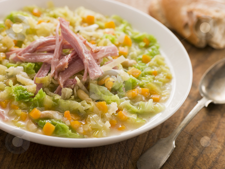 Cabbage and Bacon Soup with Rustic Bread stock photo,  by Monkey Business Images