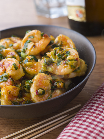 Chili Tiger Prawns stock photo,  by Monkey Business Images